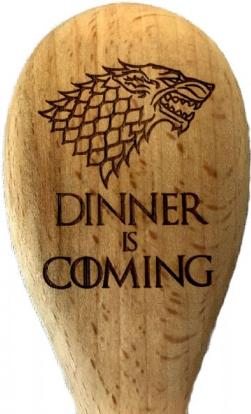 "Game of Thrones Inspired House Stark ""Dinner is Coming"" Wooden Spoon"